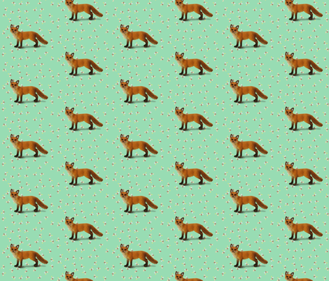 Fox on Green with Sprinkles fabric by thistleandfox on Spoonflower - custom fabric