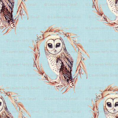 Sooty Owl on Linen Pale Blue