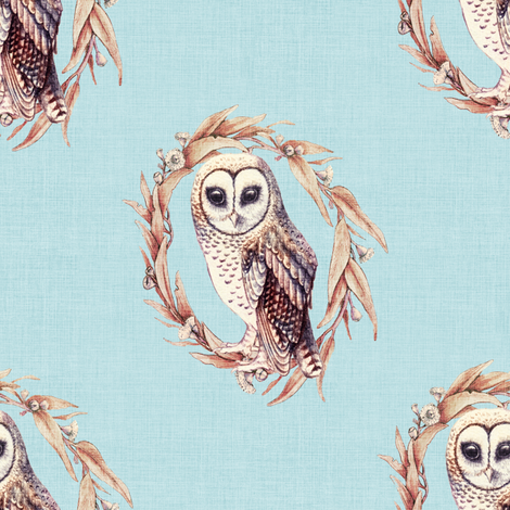 Sooty Owl on Linen Pale Blue fabric by thistleandfox on Spoonflower - custom fabric