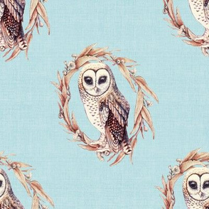 Sooty Owl on Linen Pale Blue