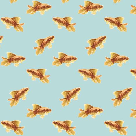 Golden Goldfish on Blue fabric by thistleandfox on Spoonflower - custom fabric