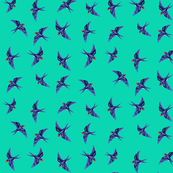 Swallow Flock on Aqua