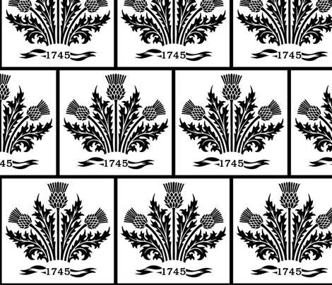 Jacobite Thistle, black on white fabric by rengal on Spoonflower - custom fabric