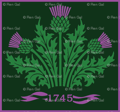Jacobite Scottish Thistle, dark green bg