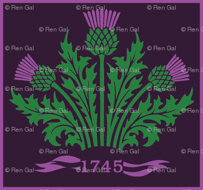 Jacobite Scottish Thistle, dark purple bg