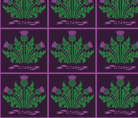 Jacobite Scottish Thistle, dark purple bg fabric by rengal on Spoonflower - custom fabric