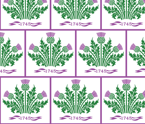 Jacobite Scottish Thistle, white bg fabric by rengal on Spoonflower - custom fabric