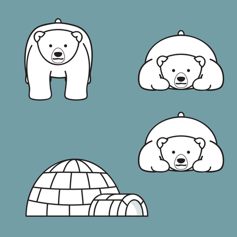Polar Bears and Igloos fabric by jmckinniss on Spoonflower - custom fabric