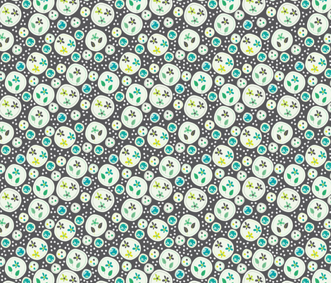 Flora (Grey/Green) fabric by mondaland on Spoonflower - custom fabric