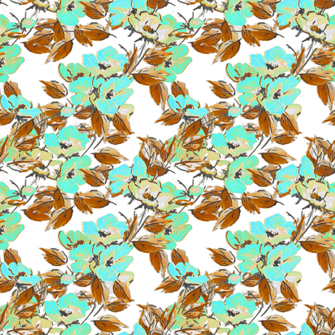 Rockabilly Floral Aqua on White fabric by joanmclemore on Spoonflower - custom fabric