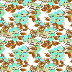 Rockabilly Floral Aqua on White