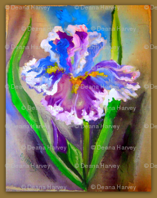 Iris Purple Blue Fabric Painting_Swatch