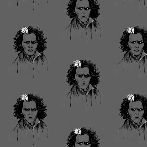 Sweeney in Grey fabric by artistkae on Spoonflower - custom fabric