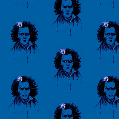 Sweeney in Blue fabric by kaedralynn on Spoonflower - custom fabric