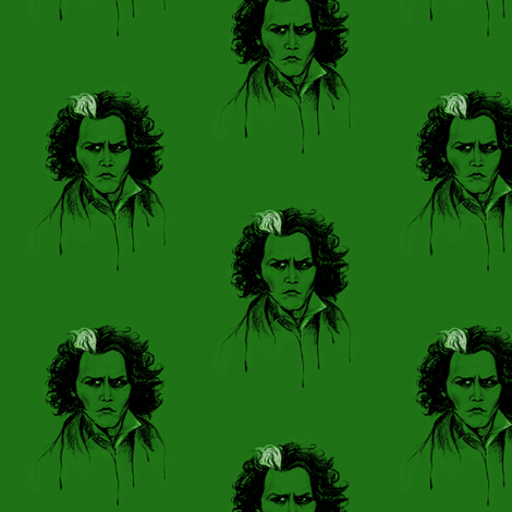 Sweeney in Green fabric by artistkae on Spoonflower - custom fabric