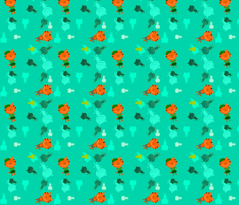 Bonjour Tigers Teal fabric by heathermann on Spoonflower - custom fabric