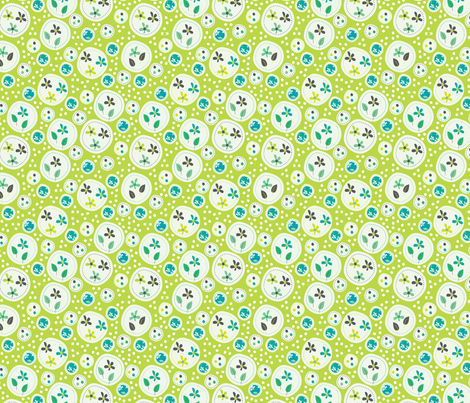 Flora (Green) fabric by mondaland on Spoonflower - custom fabric