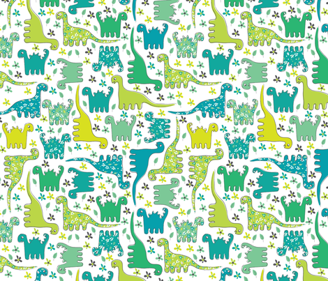 Dino (Green) fabric by mondaland on Spoonflower - custom fabric