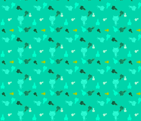 Teal Tiger fabric by heathermann on Spoonflower - custom fabric
