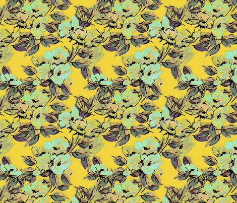 Rockabilly Rose on yellow fabric by joanmclemore on Spoonflower - custom fabric