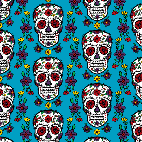 Sugar Skull Tattoo fabric by andibird on Spoonflower - custom fabric