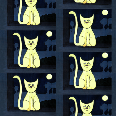 Night... Cats Like to Stare Into Space fabric by bohobear on Spoonflower - custom fabric
