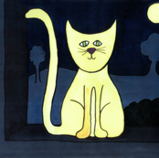 Yellow Cat at Night