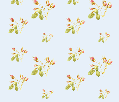 RoseBud in Powder Blue fabric by lilyoake on Spoonflower - custom fabric