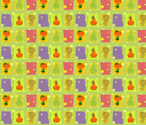 Bonjour Mod Tigers Olive fabric by heathermann on Spoonflower - custom fabric