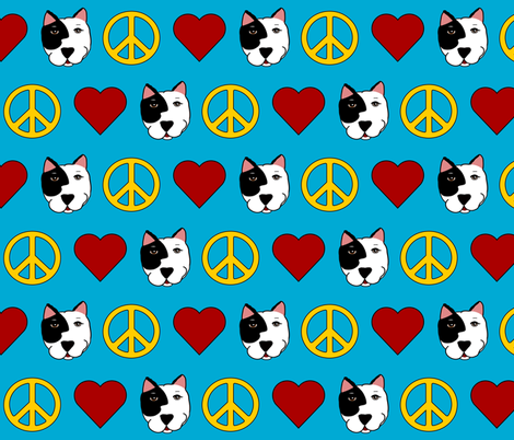 Peace, Love & Pit Bulls fabric by missyq on Spoonflower - custom fabric