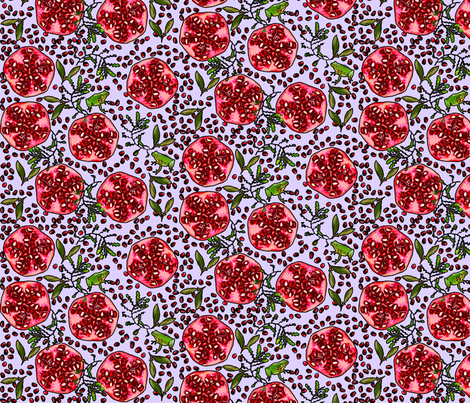 Pomegranate and Frog purple fabric by eve_s on Spoonflower - custom fabric