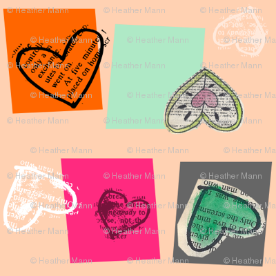Book Page Heart Collage Peach