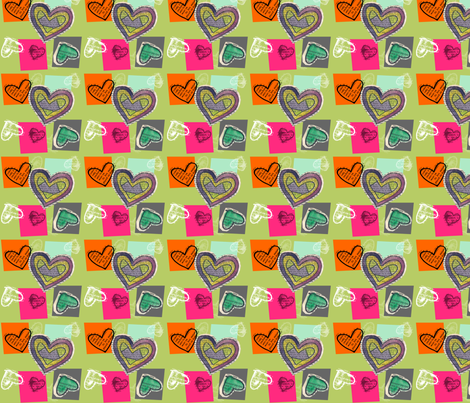 Book Page Heart Collage Olive fabric by heathermann on Spoonflower - custom fabric