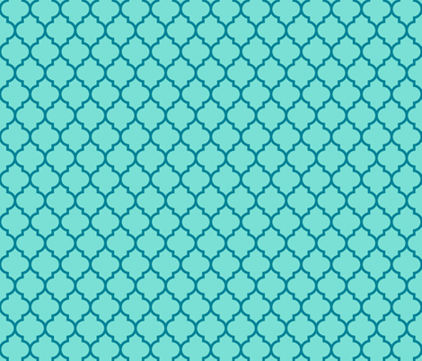 moroccan quatrefoil lattice in sky blue and teal fabric by spacefem on Spoonflower - custom fabric