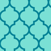 moroccan quatrefoil lattice in sky blue and teal