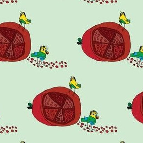 Pomegranates and Parakeets