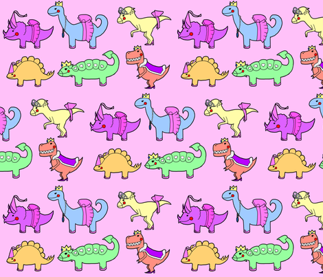 Princess Dinosaurs fabric by purples on Spoonflower - custom fabric