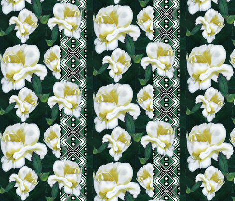 Snow Roses_on_trellis fabric by art_on_fabric on Spoonflower - custom fabric