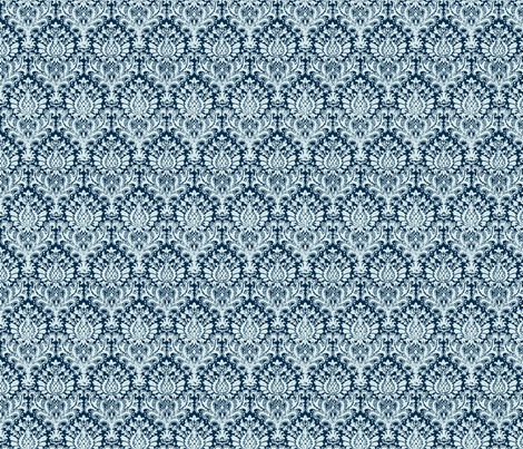 India Damask blue fabric by flyingfish on Spoonflower - custom fabric