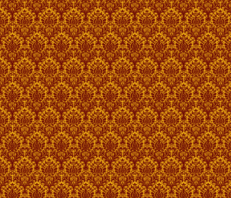 India Damask scarlet and gold fabric by flyingfish on Spoonflower - custom fabric