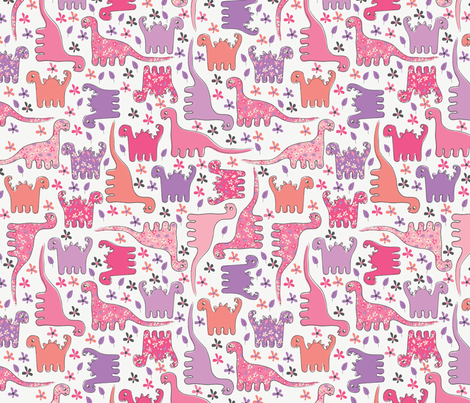Dino (Pink) fabric by mondaland on Spoonflower - custom fabric