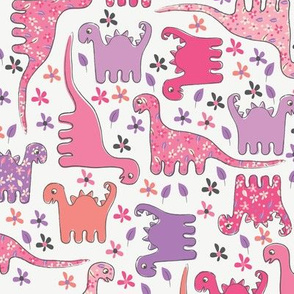 pink dinosaur fabric wallpaper gift wrap spoonflower