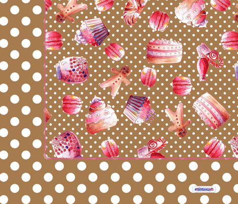 foulard_gourmandise_brun fabric by nadja_petremand on Spoonflower - custom fabric