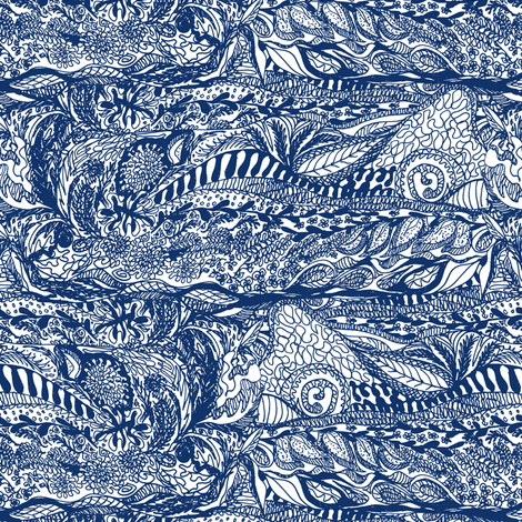 Organic Landscape - Indigo on White.  fabric by rhondadesigns on Spoonflower - custom fabric
