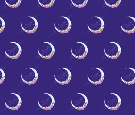 Purple crescent moon with roses fabric lovelylatte for Moon print fabric