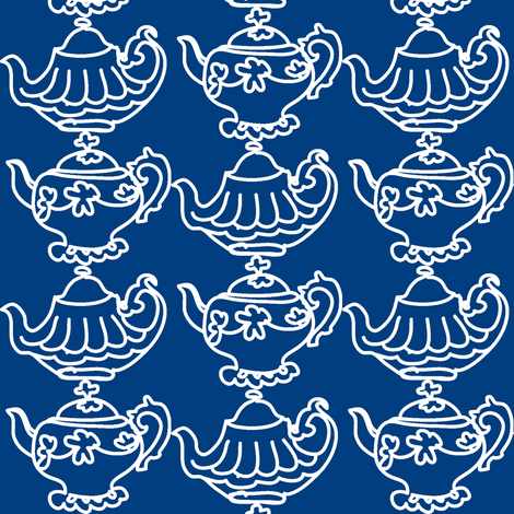Teapots (navy blue & white) fabric by pattyryboltdesigns on Spoonflower - custom fabric