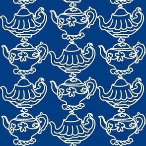 Teapots (navy blue & white)