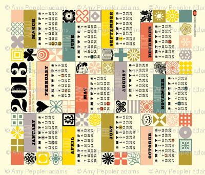 2013 Tea Towel Calendar (Retro Grid)