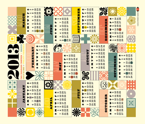 2013 Tea Towel Calendar (Retro Grid) fabric by pennycandy on Spoonflower - custom fabric