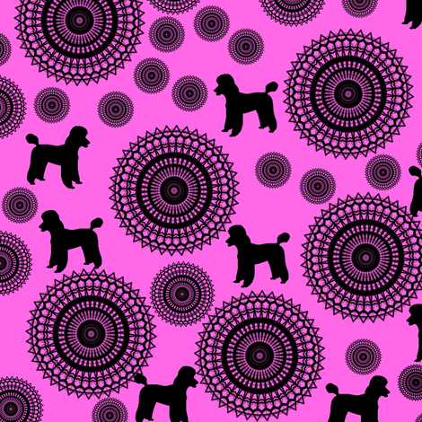 Poodles in Pink fabric by elarnia on Spoonflower - custom fabric